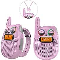 QNIGLO Q136 Walkie Talkie Niños Rosa Recargable,Radio FM Alcance de 2-5Km Ojos LED Parpadeantes Correa Portátil de…