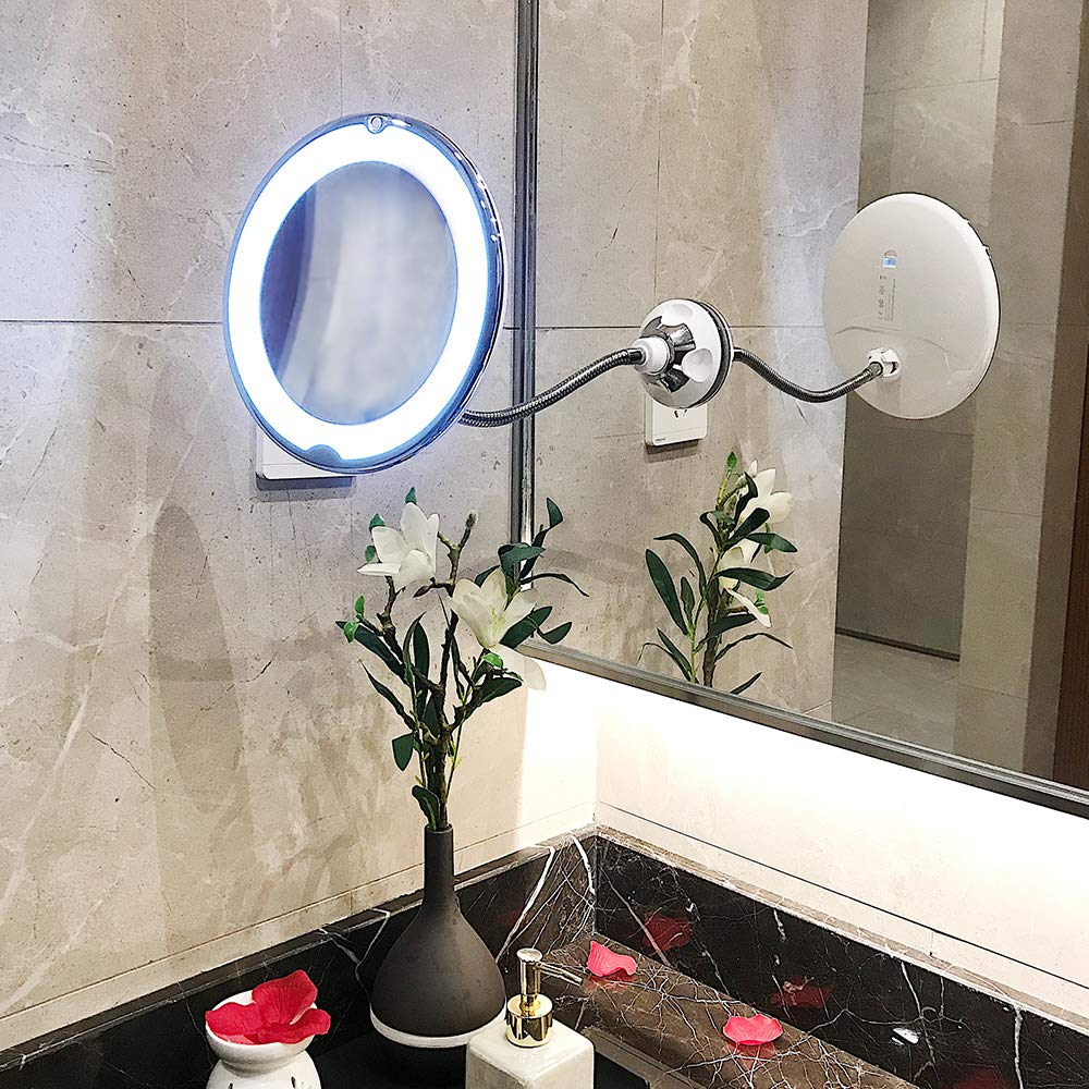 10X Magnifying Flexible Makeup Mirror-TOP4EVER 8'' LED Gooseneck Mirror with light, Strong Locking Suction Cup,360 Degree Swivel Rotation