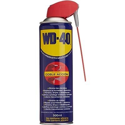 WD-40 Producto Multi-Uso Doble Acción- Spray 500ml-Aplicación amplia o precisa. Lubrica, Afloja, Protege del óxido, Dieléctrico, Limpia metales y plásticos y Desplaza la humedad