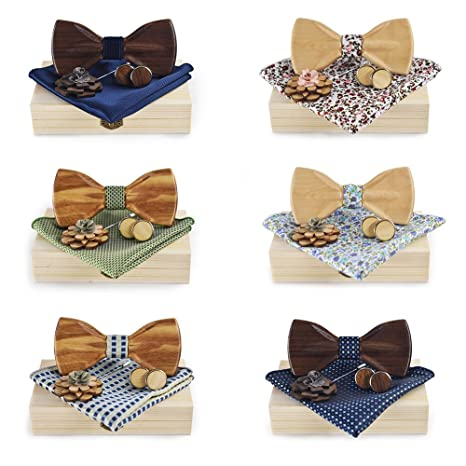 656c2382fce60 Wooden Bow Ties for Men Flower Lapel Pins Polyester Handkerchiefs Cufflinks  Set: Amazon.ca: Luggage & Bags