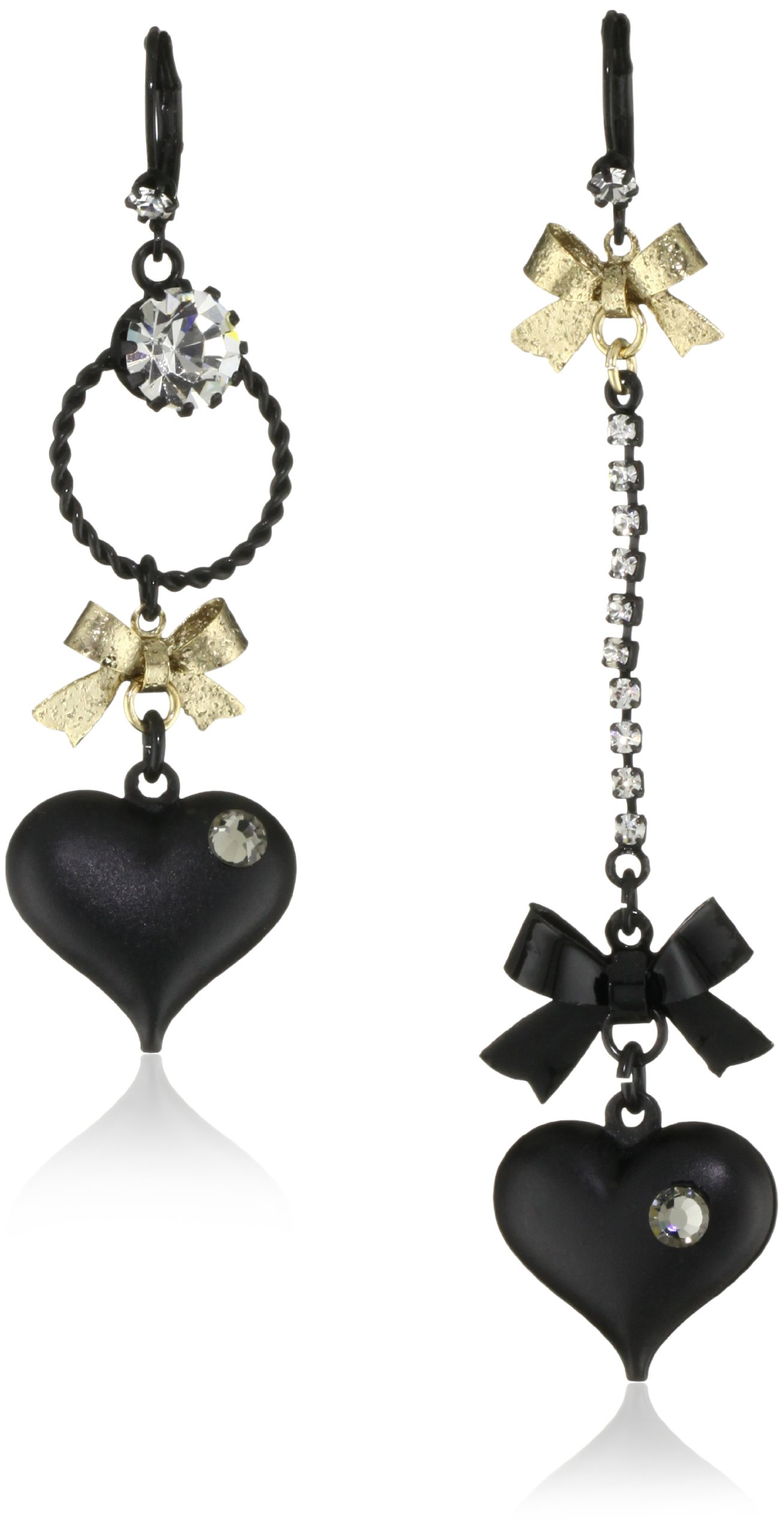 Betsey Johnson Mismatch Black Bubble Heart and Gold Bow Drop Earrings by Betsey Johnson