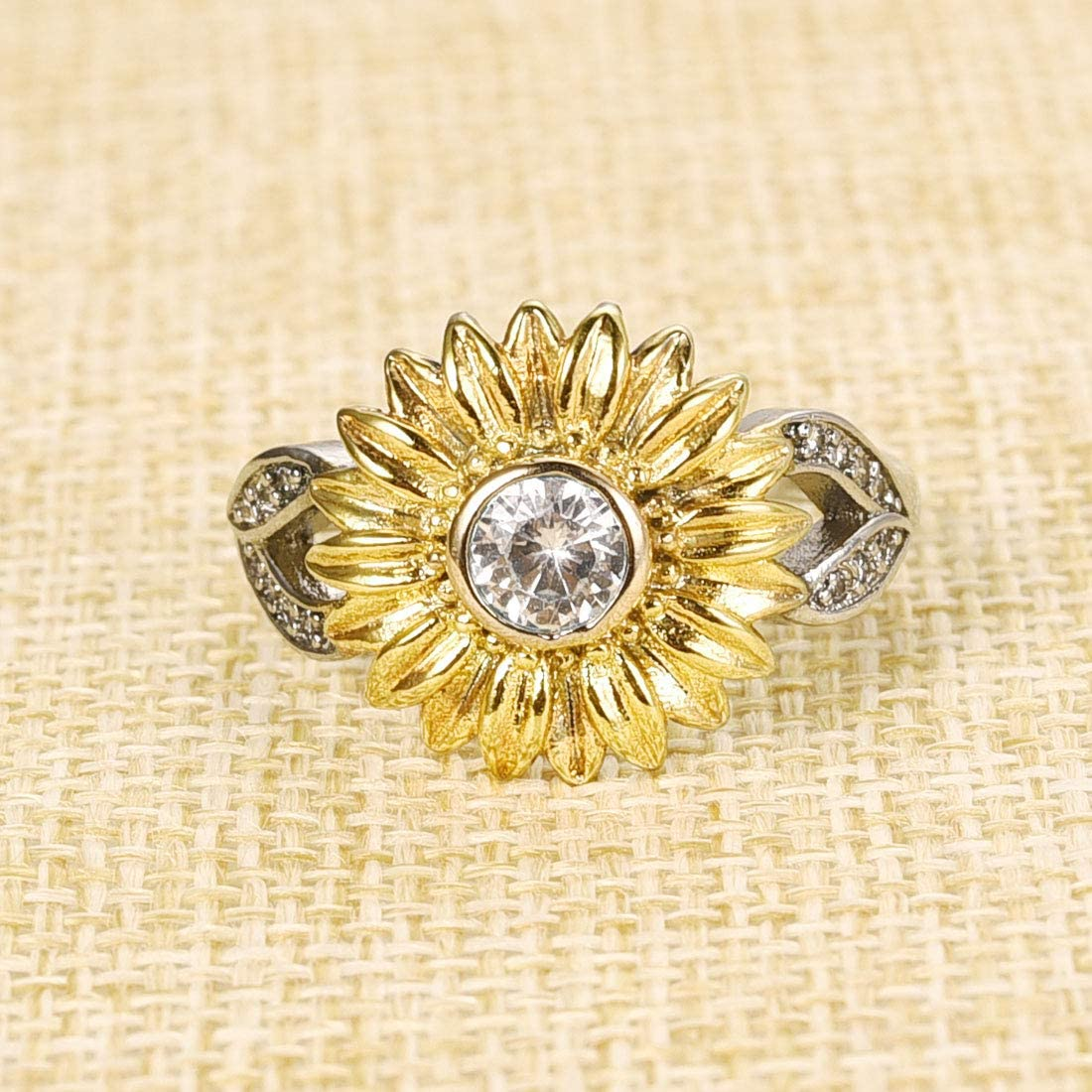 DALARAN Sunflower Ring for Women Girls Eternity Band Rings Size 6 7 8 9 10