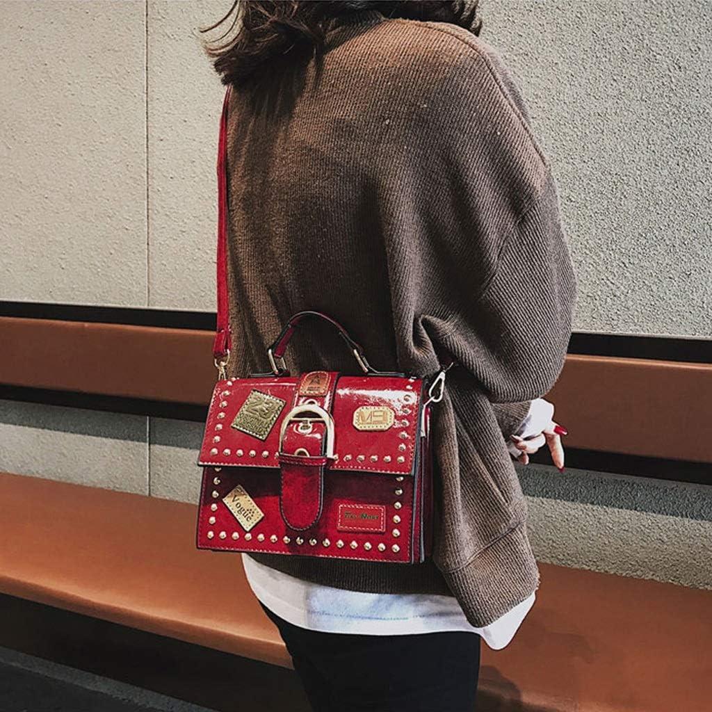 19917 Color : Red, Size : A Fashion Rivet Messenger Bag Casual Student Handbag Shoulder Retro Red Small Square Bag cm