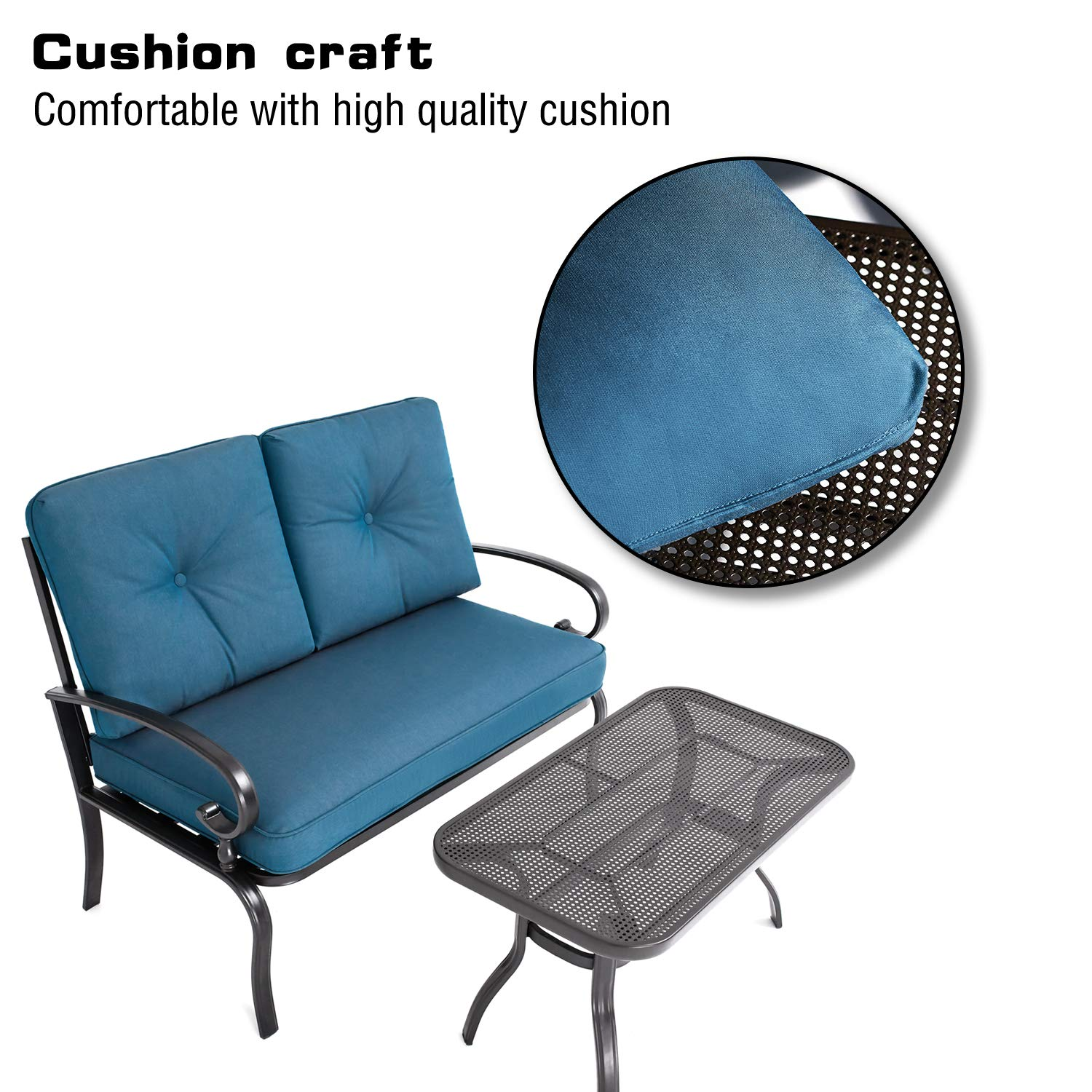 Oakmont Outdoor Furniture 2 Piece LoveSeat with Coffee Table Patio Bistro Set Peacock Blue Cushion for Lawn Front Porch Garden Yard or Poolside