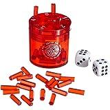 BestSaller 3011 SUPER SIX ABS Kunststoff – auch für die Reise, 36 Spielstäbchen & 2 Würfel, rot (1 Stück)
