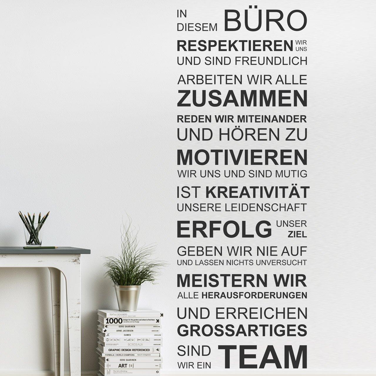 DESIGNSCAPE® Wandtattoo In diesem Büro Büro Büro respektieren wir uns, arbeiten wir alle zusammen, geben wir nie auf, sind wir ein Team... 67 x 180 cm (Breite x Höhe) schwarz DW801462-L-F4 B01DT7FUJG Wandtattoos & Wandbilder f3709a