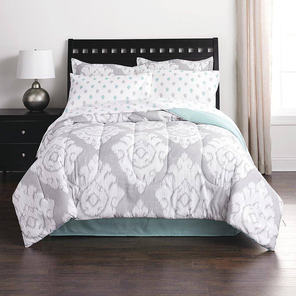Amazon Com Gray White Ikat Comforter Set Twin Size 6 Pieces Bedding