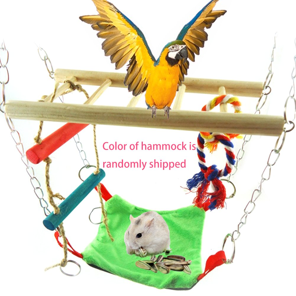 Hamster Suspension Bridge for Bird Parrot and Squirrel Hamster Guinea Pigs Mice Small Animals, Wooden Hanging Swing Ladder Bridge Cage Toy Design, Fixed Size: 12.6 x 9 x 3.1 Inch