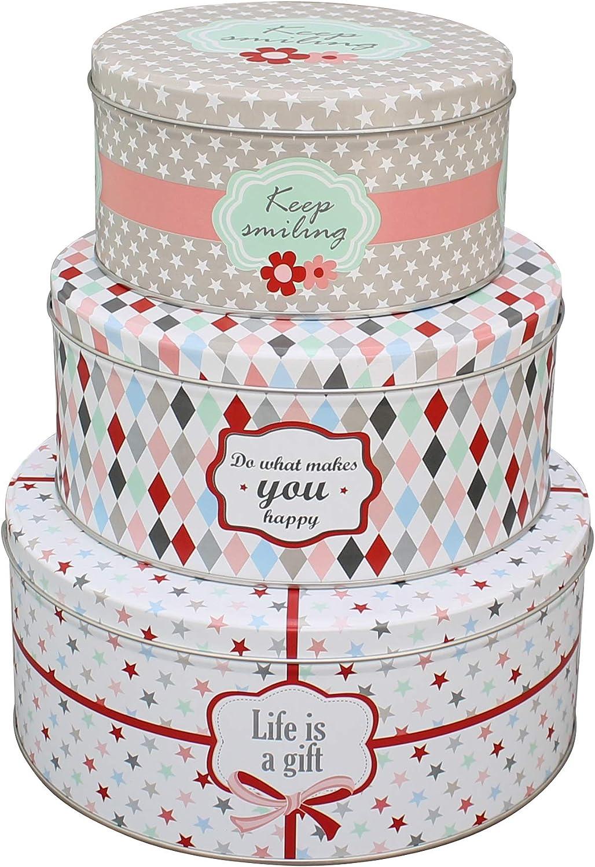 Krasilnikoff dosis de latón con diseño de caja de bote keep smiling, DO what makes you happy Life is a Gift: Amazon.es: Hogar