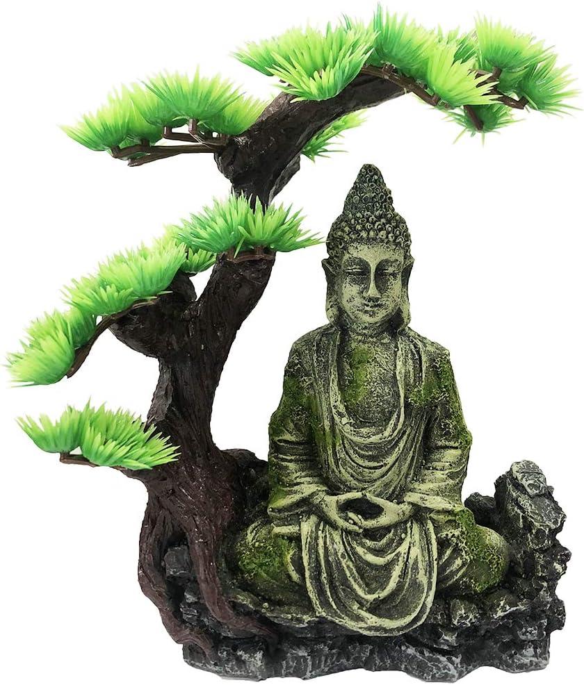 SLOCME Aquarium Buddha Statue Decorations - Tree Provide Shade and shelter for Buddha Statue Fish Tank Statue Ornament