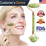 Anti Aging Jade Roller for Face Massage, 100% Natural Facial Massager with Double Rollers to Rejuvenate Skin