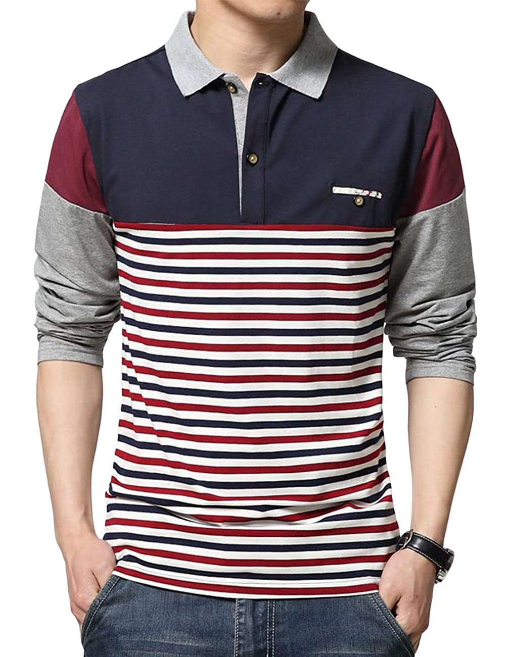 Sandbank Mens Polo Shirt Striped Contrast Color Long Sleeve Cotton T Shirt Top