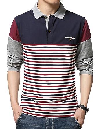 sandbank Men s Polo Shirt Striped Contrast Color Long Sleeve Cotton T Shirt  Top 9b842deaa48e
