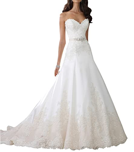 Mylilac Women's Strapless Sorded Lace Tulle And Satin A-line Wedding Dress