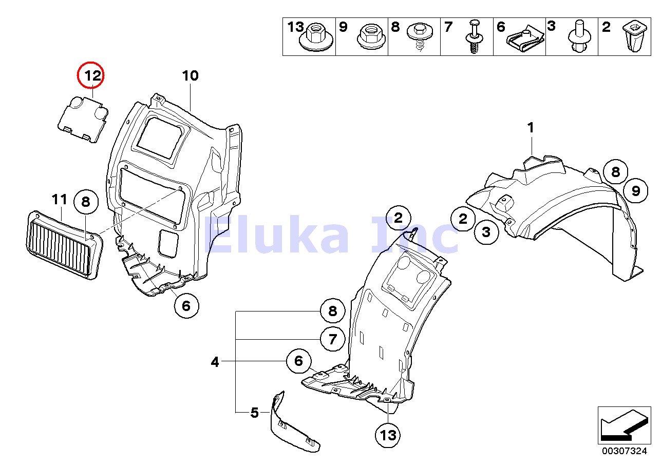 BMW Genuine Front Wheel Arch Trim Fender Liner Vent Cover Front Right/ 323i 325i 325xi 328i 328xi 330i 330xi 335i 335xi 323i 328i 328xi 335d 335i 335xi M3 325xi 328i 328xi 328i 328xi