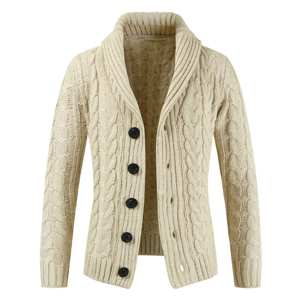 BaZhaHei Mens Autumn Winter Zip Sweater Casual Long Sleeve Coat Tops Slim Fit Pocket Sweater Mens Jacket with Button Casual Warm Knitwear