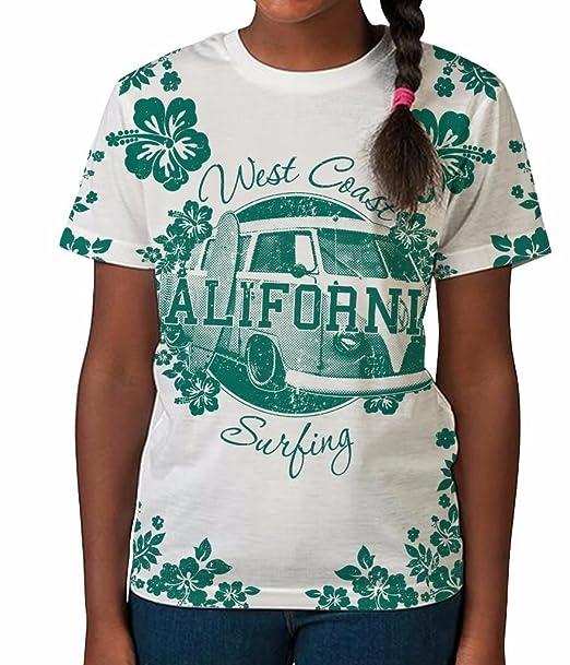 West Coast California Surfing Flowers Campervan Girls Unisex Kids Child T Shirt: Amazon.es: Ropa y accesorios