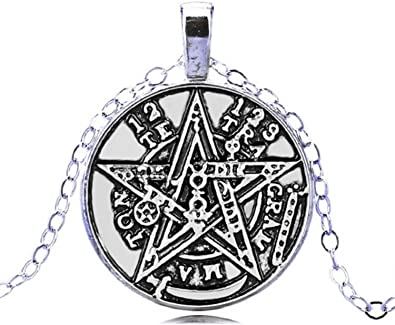 Silver Pagan Witchcraft Satan Crystal Glass Pendant Necklace Jewelry Gift Bag
