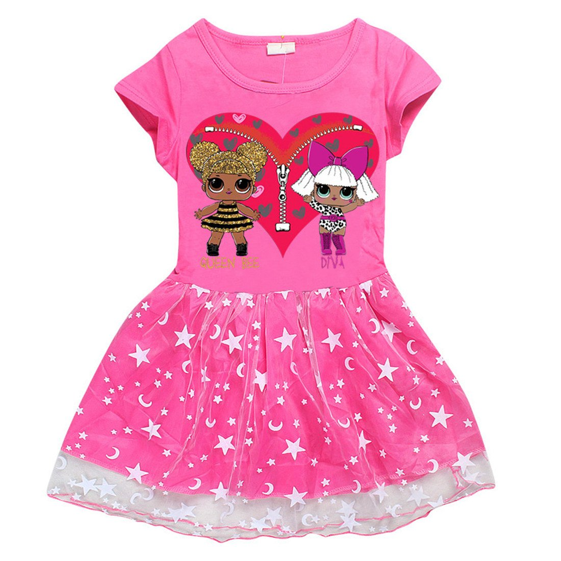 DGFSTM Cute Cartoon Printed Comfy Loose Fit Stitching Skirt Girls Dress