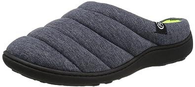 Isotoner Women's Sport Knit Hoodback Slip on Slipper, Navy/Blue, Medium/7.5