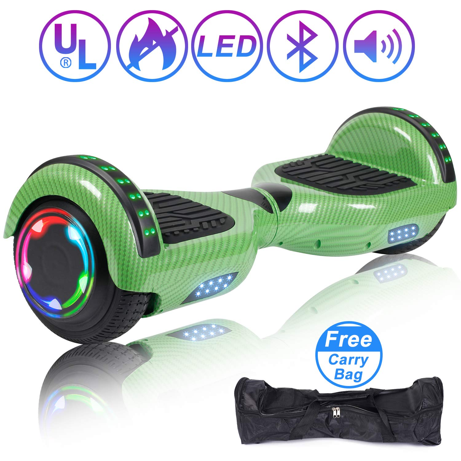 Hoverboard Self Balancing Scooter 6.5'' Two-Wheel Self Balancing Hoverboard with Bluetooth Speaker and LED Lights Electric Scooter for Adult Kids Gift UL 2272 Certified Fun Edition - Carbon Green