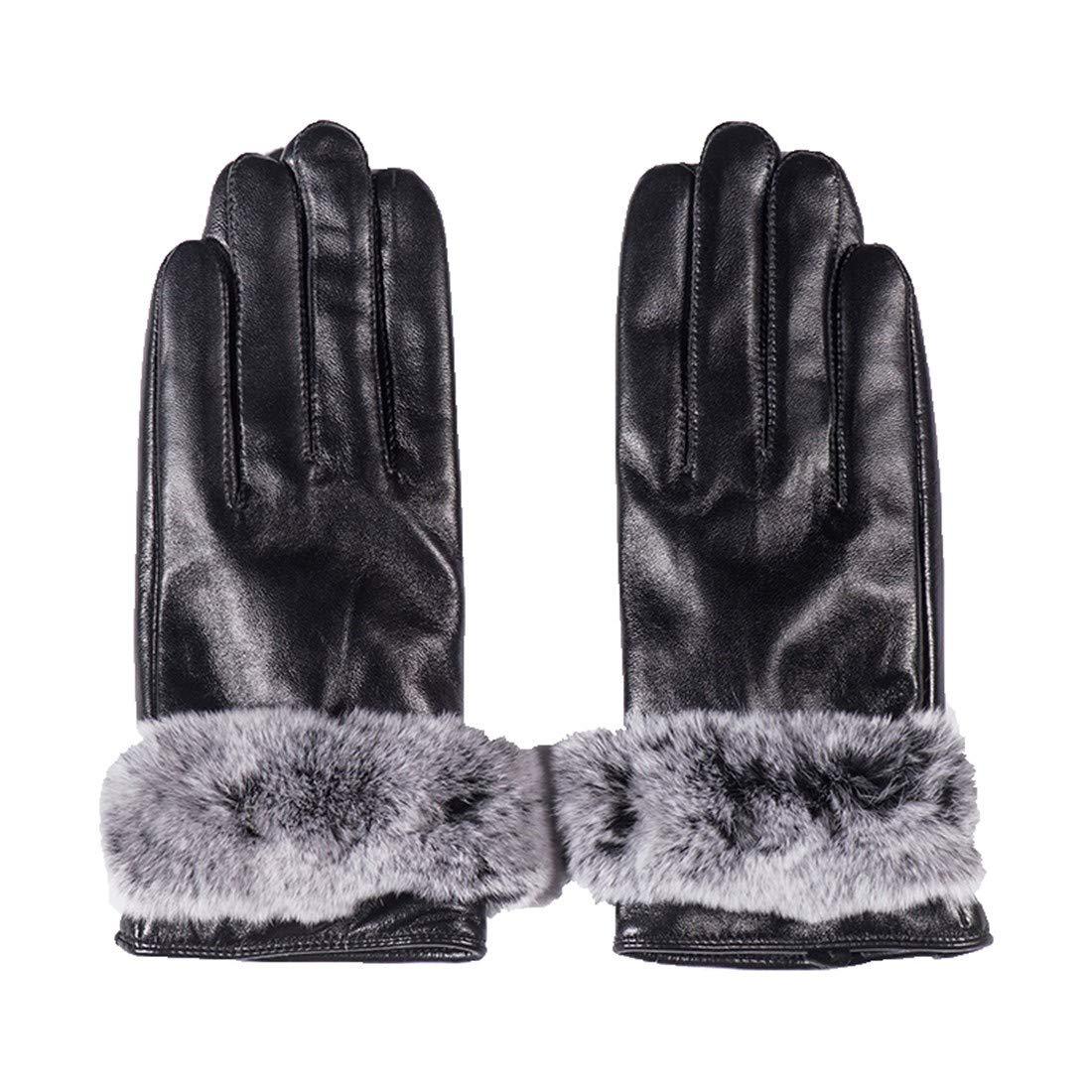 BYMHH Lederhandschuhe Herbst und Winter Schaffell Handschuhe, schwarz, M