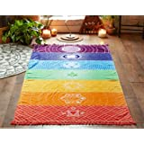 MAYWHEN Colorful Ultra-light Square Beach Towel Thin Polyester with Fringe Tassels Rainbow Totem Pattern