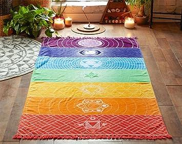 maywhen Colorful ultraligero cuadrado toalla de playa con flecos borlas Rainbow Totem patrón elegante transpirable alfombra para playa Terry sala de juegos ...