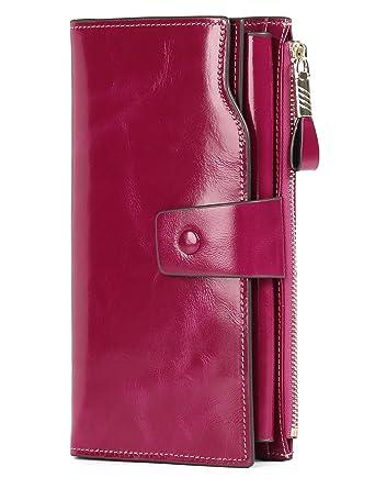 Geldbörse Damen echtes Leder Portemonnaie Luxus mit 21 Kartenfächer RFID...