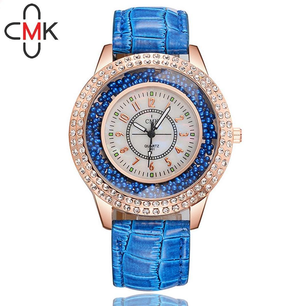 Relojes Mujer,❤LMMVP❤Reloj de pulsera de cristal femenino de acero inoxidable de cuero mujer (E): Amazon.es: Relojes