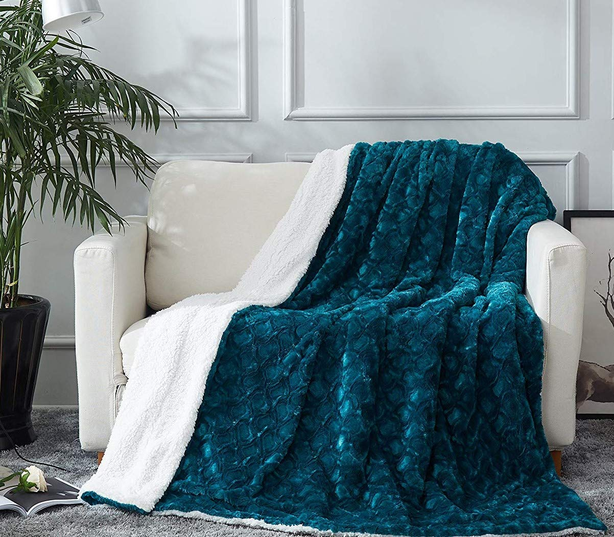 """DaDa Bedding Lavish Throw Blanket - Ruched Mermaid Scales Faux Fur Sherpa - Soft Warm Plush Fleece Textured - Bright Vibrant Embossed Green Blue Teal & White - 63"""" x 90"""""""
