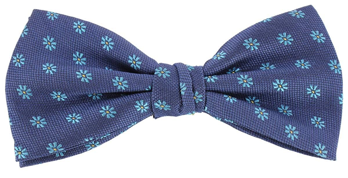 Navy//Turquoise Knightsbridge Neckwear Mens Small Flower Silk Bow Tie