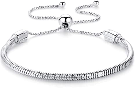 Authentic EvesCity 925 Silver Adjustable Twist On/Off Silver Bracelet fits  Pandora Beads Charms