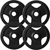 BodyRip TRI GRIP RUBBER ENCASED WEIGHT PLATES 4 x 10kg DISCS FITNESS EXERCISE