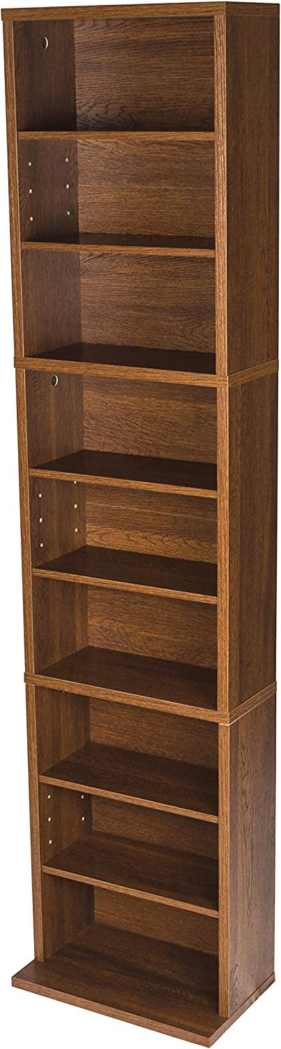 Atlantic Herrin Adjustable Media Cabinet - Holds 261CD, 114DV, 132 Blu-Ray/Games PN74736249 in Textured Chestnut