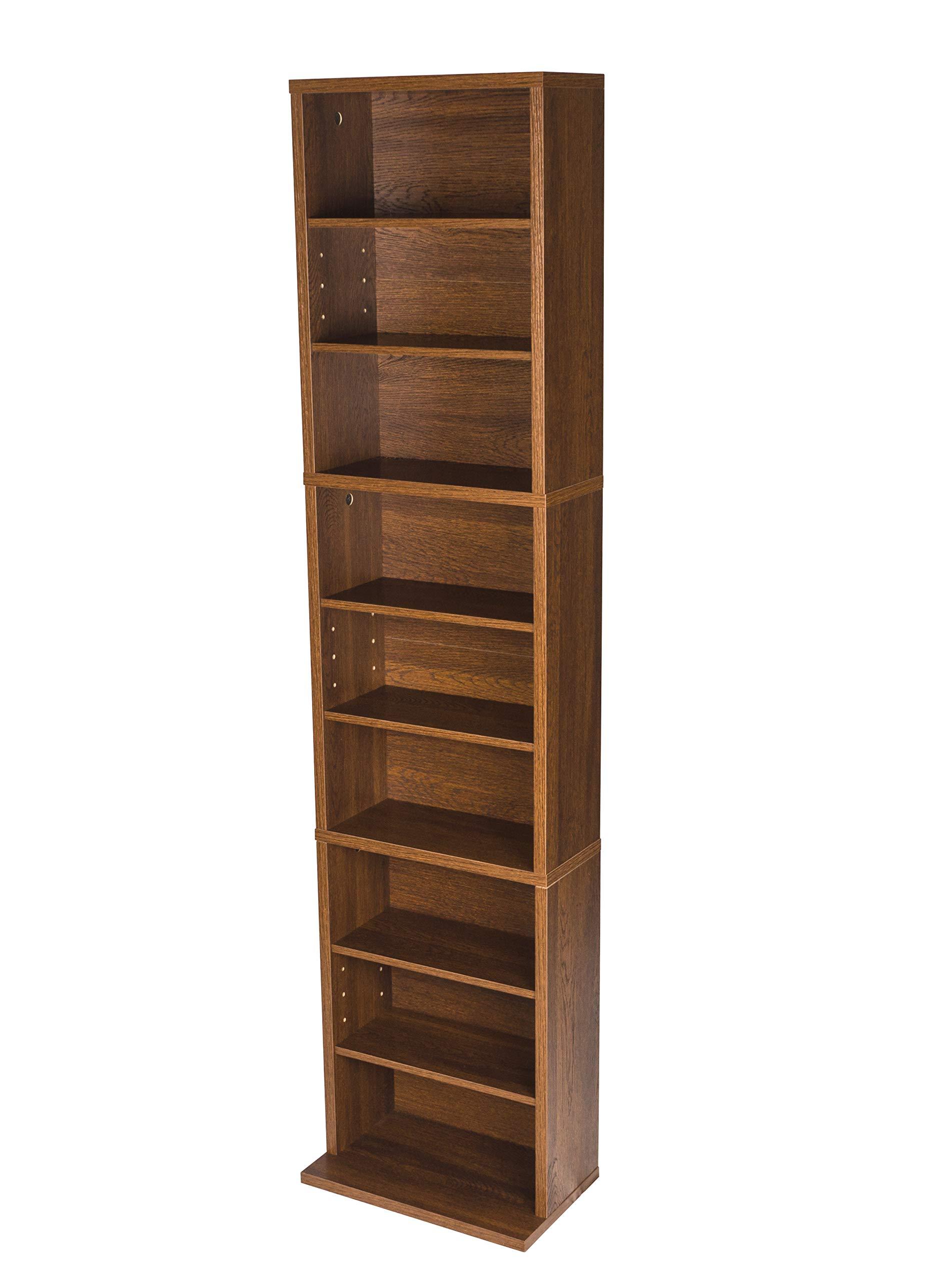Atlantic Herrin Adjustable Media Cabinet - Holds 261CD, 114DV, 132 Blu-Ray/Games PN74736249 in Textured Chestnut by Atlantic