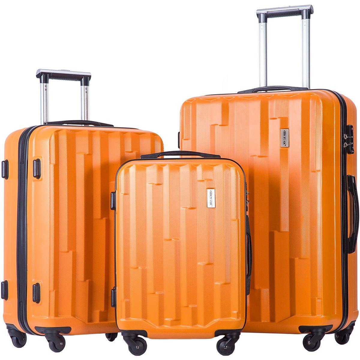 Merax Luggage set 3 piece luggages Suitcase with TSA lock (Orange)
