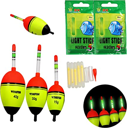 5Pcs//set EVA Float+Glow Stick Fishing Floats Luminous Lighting Foam Night Vision