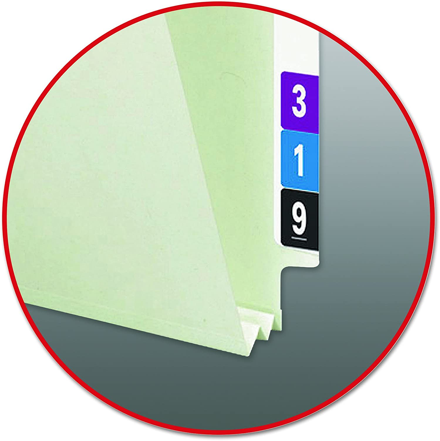 25 per Box 37725 Smead End Tab Pressboard Fastener File Folder with SafeSHIELD Fasteners 3 Expansion Legal Size 2 Fasteners Gray//Green