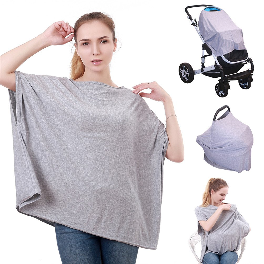 (27 Patterns) 360° Full Coverage Multi Use Stretchy Nursing Cover Up for Breastfeeding car seat Cover 4 in 1 / Nursing Cover Ups/Nursing Tops/Nursing Cover Poncho Baby Car Seat and Stroller Protective Canopy Genovega YEJ-004-000