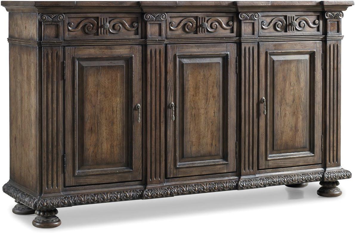 Hooker Furniture Rhapsody 72'' 3-Door Credenza in Rustic Walnut