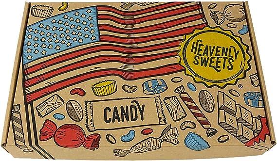 Heavenly Cesta de Dulces y Chocolate Americanos - Set de Marcas Clásicas de USA, Surtidos Originales, Regalo Perfecto para Niños, Adulto - Cumpleaños, Navidad - 18 Dulces, paquete de 28x19x4cm: Amazon.es: Alimentación y bebidas