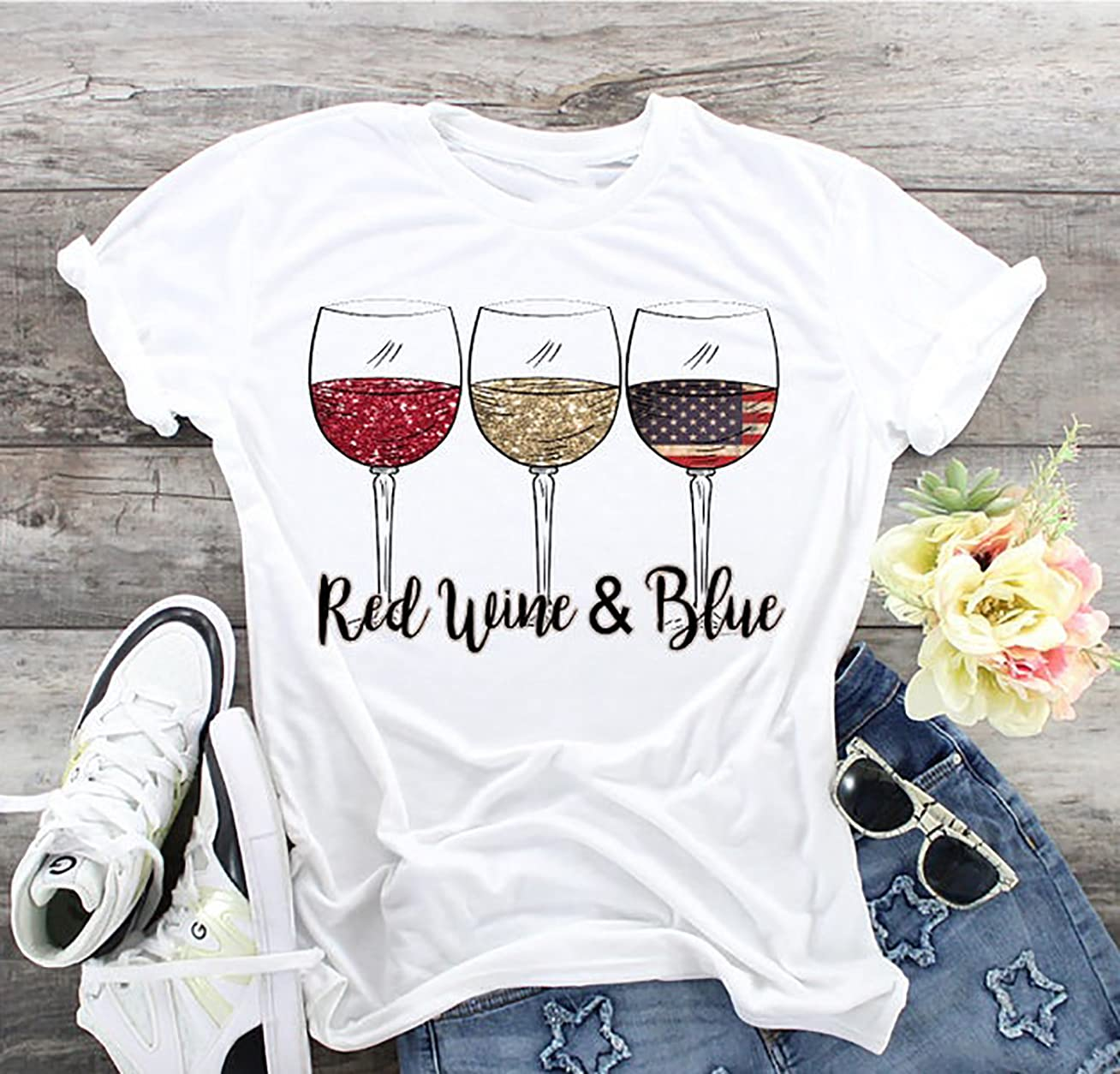 """Red Wine & Blue Shirt, 4Th Of July Wine, Red White Blue Wine Glasses, Flag Wine Glasses, Patriotic Wine, Print Shirt,Unisex Short- Sleeve T-Shirt,Ladies Short-Sleeve Shirt,Sweatshirt,Hoodie"""