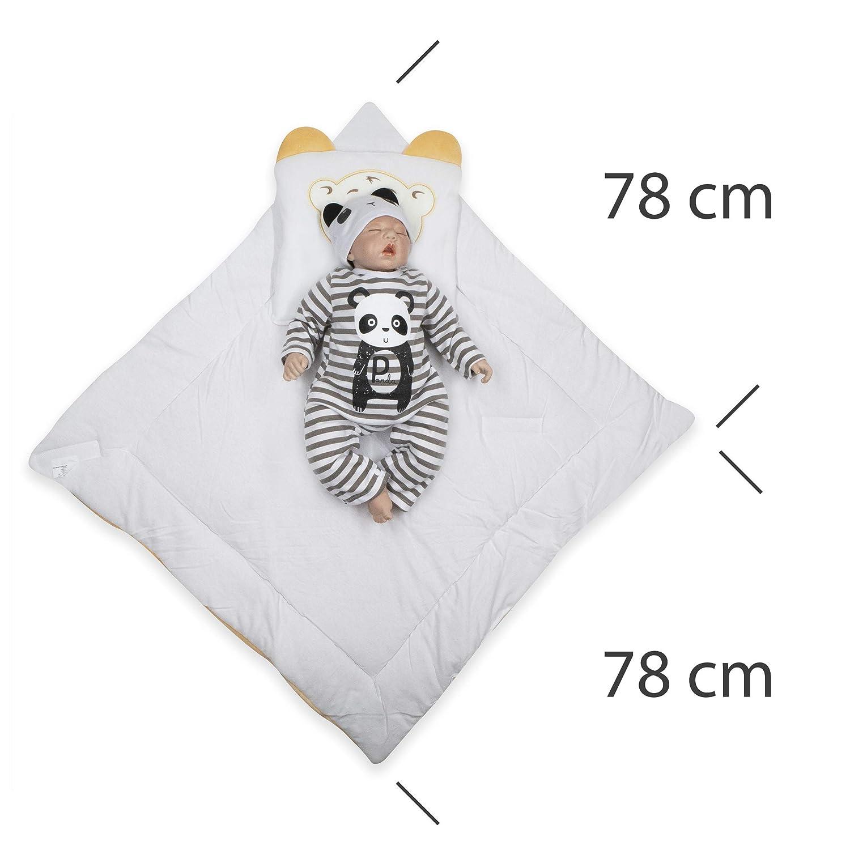 Sacco a pelo per neonati BlueberryShop coperta di velluto per avvolgere il bambino con il cuscino Blu Destinato per I bambini da 0-3 mesi Regalo ideale per il Baby Shower 78 x 78 cm