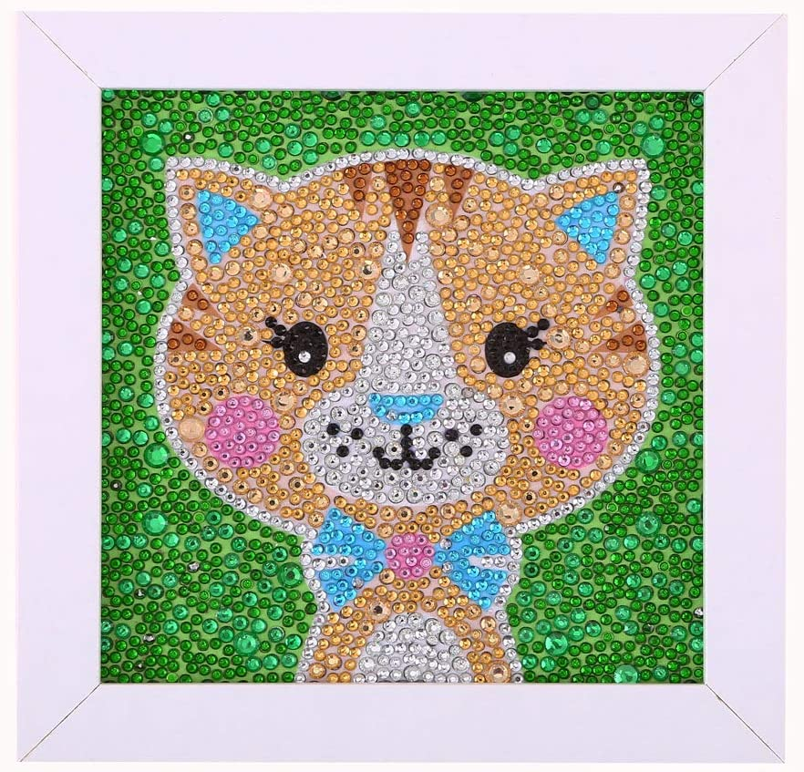LAN WHALE Easy 5D Diamond Painting Kit for Kids Full Drill Painting by Number Kits with Wooden Frame Cat