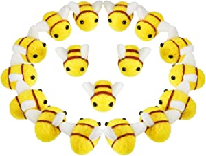 20 Pieces Wool Felt Bee Craft Balls Bee Craft Supplies for Baby Shower Gender Reveal Party Nursery Tent Decoration DIY Craft Car Seat Grasping Bead Toys