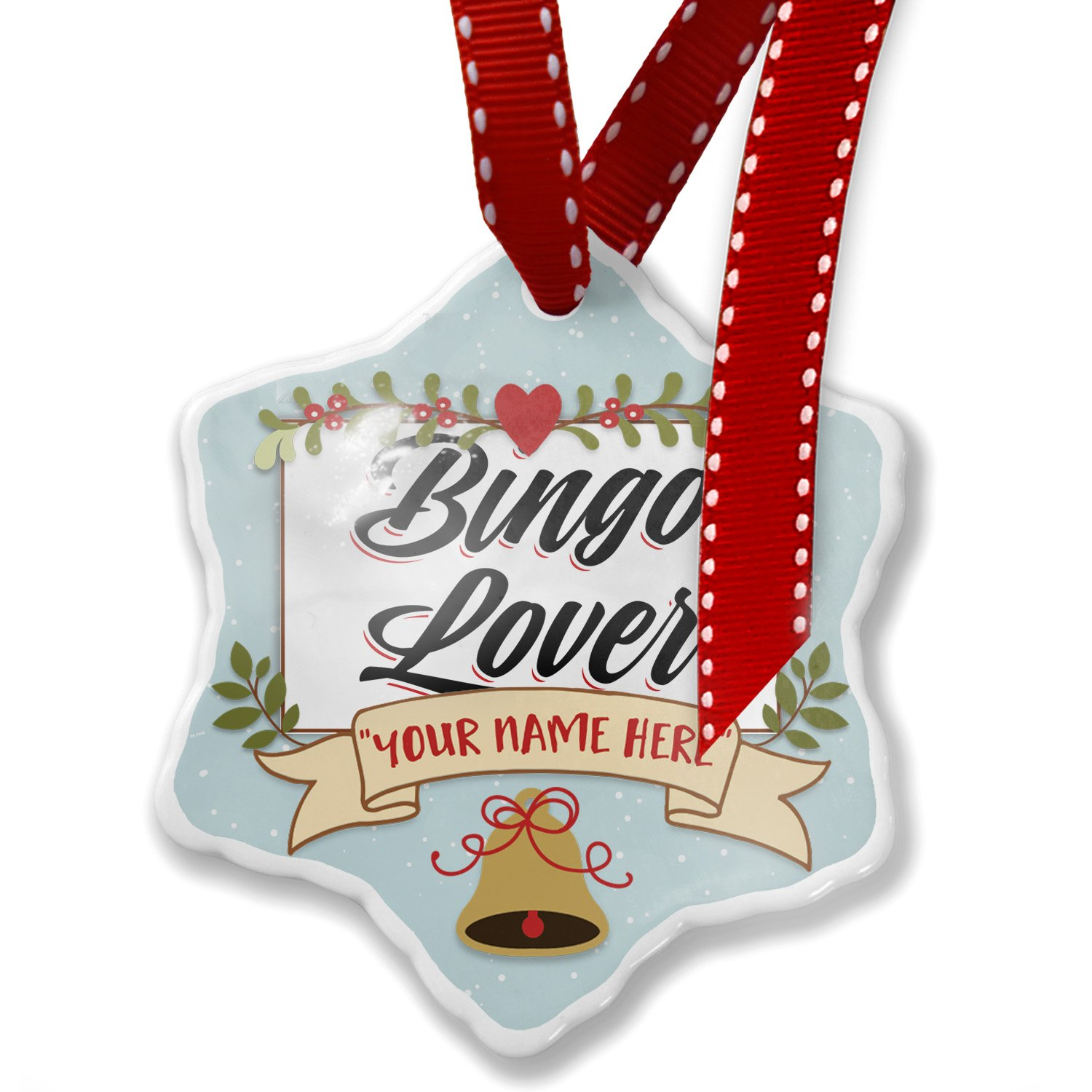 Add Your Own Custom Name, Vintage Lettering Bingo Lover Christmas Ornament NEONBLOND by NEONBLOND