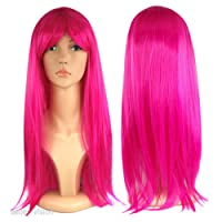 """WOMENS LADIES LONG 19"""" STRAIGHT WIG FANCY DRESS COSPLAY WIGS POP PARTY COSTUME (Pink)"""