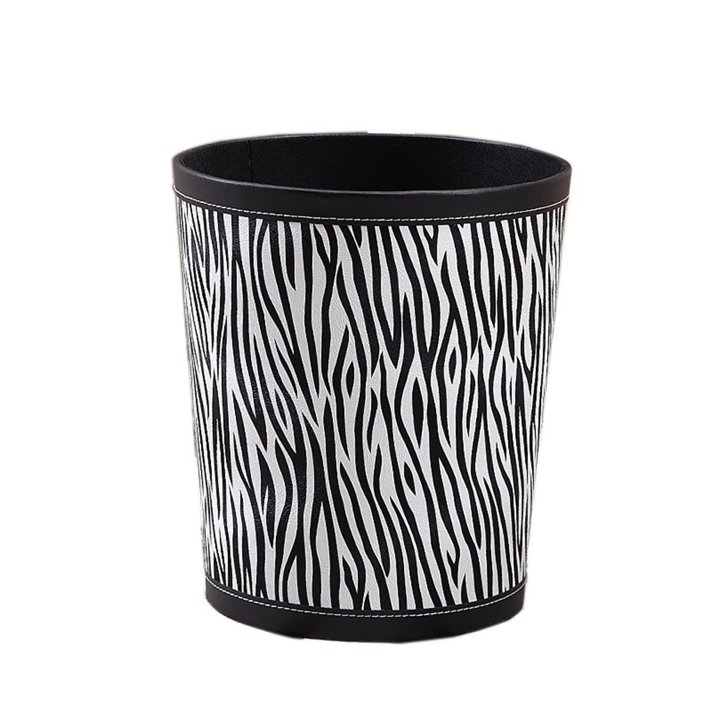 CSQ Pu Trash Can, Household Bedroom Living Room Large Trash Can KTV Hotel Club House Office Creative Without Cover Paper Basket 9L (Color : A)