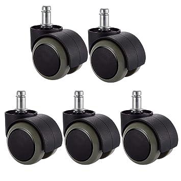 5 juegos de ruedas de silla de oficina PChero de tamaño estándar universal de tira de 11 mm y diámetro de 22 mm. Soporta un peso máximo de 250 kg.